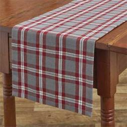 Farmhouse Holiday Table Runner 13x36 Red Gray White Plaid Pa