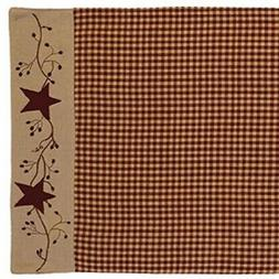 FARMHOUSE STARS BERRIES TABLE RUNNER BURGUNDY TAN PLAID 13""