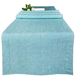 Farmhouse Table Runner 72inch, in Cotton Chambray Fabric wit