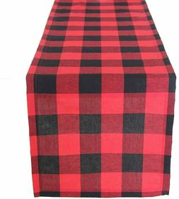 Farmhouse Table Runner Black Red Buffalo Check Plaid 13 x 72