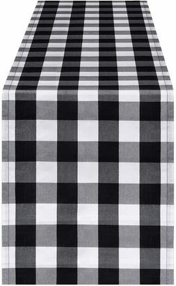 Farmhouse Table Runner Black White Buffalo Check Plaid 13 x