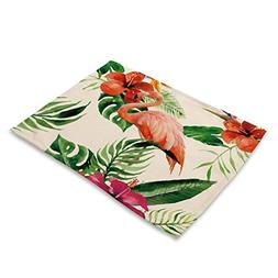 Flamingo Placemats Cotton Linen - MeMoreCool Flower Plants B