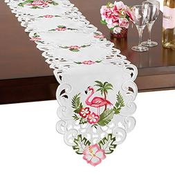 Collections Flamingo, Palm & Hibiscus Floral Tropical Table