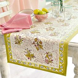 Couleur Nature 16-inches by 90-inches Fleur Table Runner, Pe
