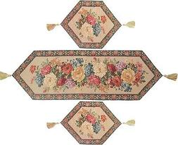 DaDa Bedding Floral Beige Spring Tapestry Table Runner Place