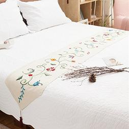 Ethomes floral embroidered handmade hemstitch bedding table