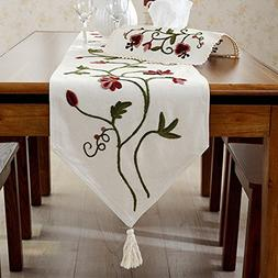 Ethomes floral embroidered handmade hemstitch linen cotton t