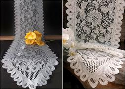Floral Scalloped edged Lace Table Runner - Ivory or Gray - 2