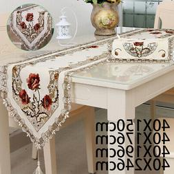Floral Table Runner Cover Tea Home Indoor Dining Linens Embr