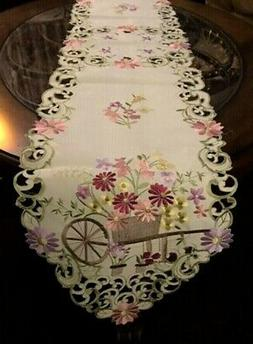 "Flower Cart Table Runner 68""x 13"" Wildflower Embroidered Dre"