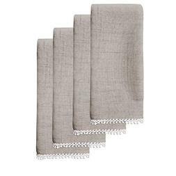 Lenox French Perle Solid Set of 4 Napkins, Dove Grey