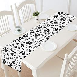 InterestPrint Funny Dog Paw Prints Footprints Table Runner L