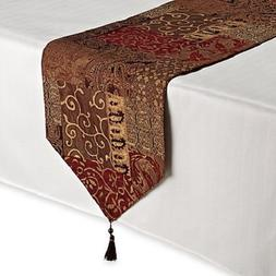 Croscill Galleria Red Patchwork Jacquard Table Runner, Paisl