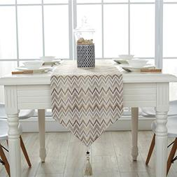 Ethomes Geometric Pattern Cotton Linen Fabric Table Runner H