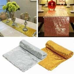 Sequin Table Runner Cloth Rose Gold Silver Wedding Birthday