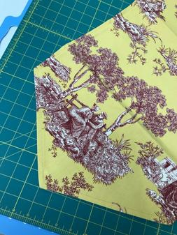 GOLD AND  DEEP RED TOILE  Waverly Fabric. TABLE TOPPER RUNNE