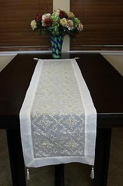 Gold Embroidered Lace Placemat Dining Table Runner Wedding P