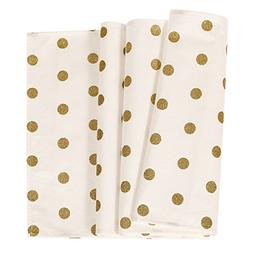 Ling's moment Gold Polka Dots Table Runner Baby Shower First