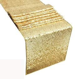 HOSL Pack of 6 Gold Glitter Sequin Table Runners 12 x 108 In