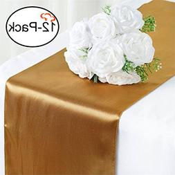 Tiger Chef 12-Pack Deep Gold 12 x 108 inches Long Satin Tabl