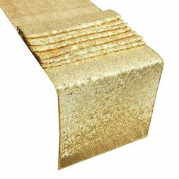 Gold Sparking Sequins Table Runner Tablecloth Christmas Wedd