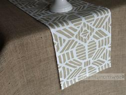 Gold Table Runner Geometric Moroccan Aztec Linens Dining Roo