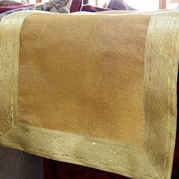 Gold Table Runner with Gold Brocade Border, 40 Inches Long