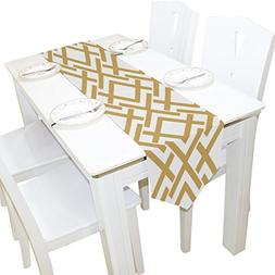 Gold and White Geometric Lattice Kitchen Table Runner for Di