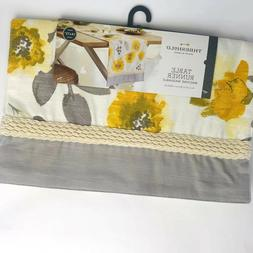 Threshold Gold Yellow Leaf Table Runner gray white Floral 14