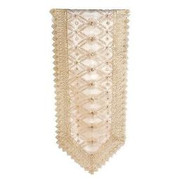 Golden and Beige Floral Pattern Polyester Table Runner with