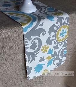 Gray Blue Green Table Runner Dining Kitchen Home Decor Linen