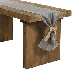 Ling's moment Gray Burlap Table Runner 14 x 144 Inch with Bo