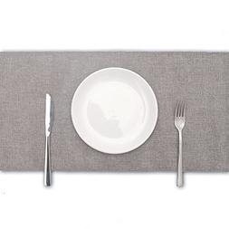 ARKSU Gray Burlap Table Runner 12 x 108 Inch Imitated Linen