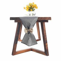 ZOOYOO Gray Burlap Table Runner 13x47Inch-Perfect For weddin