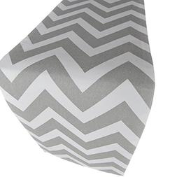 Crabtree Collection Deluxe Cotton Gray Chevron Table Runner,