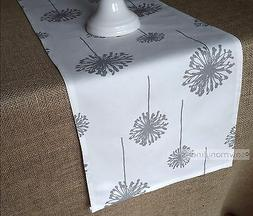 Gray Floral Table Runner Dandelion Table Centerpiece Dining