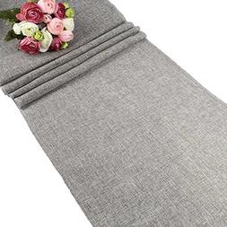 OurWarm Gray Burlap Table Runner Imitated Table Linens for W