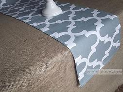 Gray Quatrefoil Table Runner Kitchen Modern Home Decor Linen