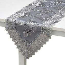 Gray Silver Floral Pattern Polyester Lace Table Runner