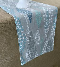 Gray Table Runner Aqua Turquoise Dot Table Linens Dining Roo