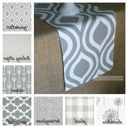 Gray Table Runner Modern Rustic Home Decor Table Centerpiece
