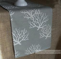 Gray Tan Taupe Table Runner Nautical Coastal Coral Reef Dini