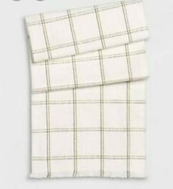 "THRESHOLD Green Grid Table Runner, 16"" x 60"", NEW"
