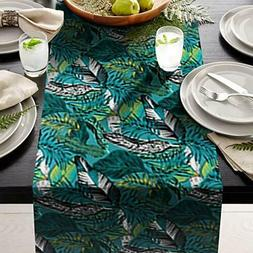"""green Leafs Table Runner 14"""" X 108"""" Print  great for table s"""