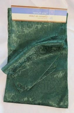 """Home Collection -Green Polyester Table Runner 12"""" X 72""""  NEW"""