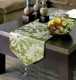 Artbisons Green Table Runner 72x13 Inches Linens Cotton