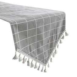 Uphome Grey Gingham Table Runner, Plaid Pattern Boho Fringe