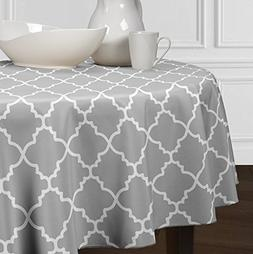 Grey and White Round Trellis Tablecloths Dining Room and Kit