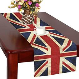 InterestPrint Grunge Union Jack Flag Fabric Table Runner Pla
