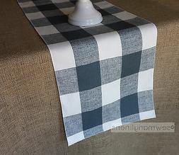 Gunmetal Gray Table Runner Plaid Buffalo Check Country Kitch